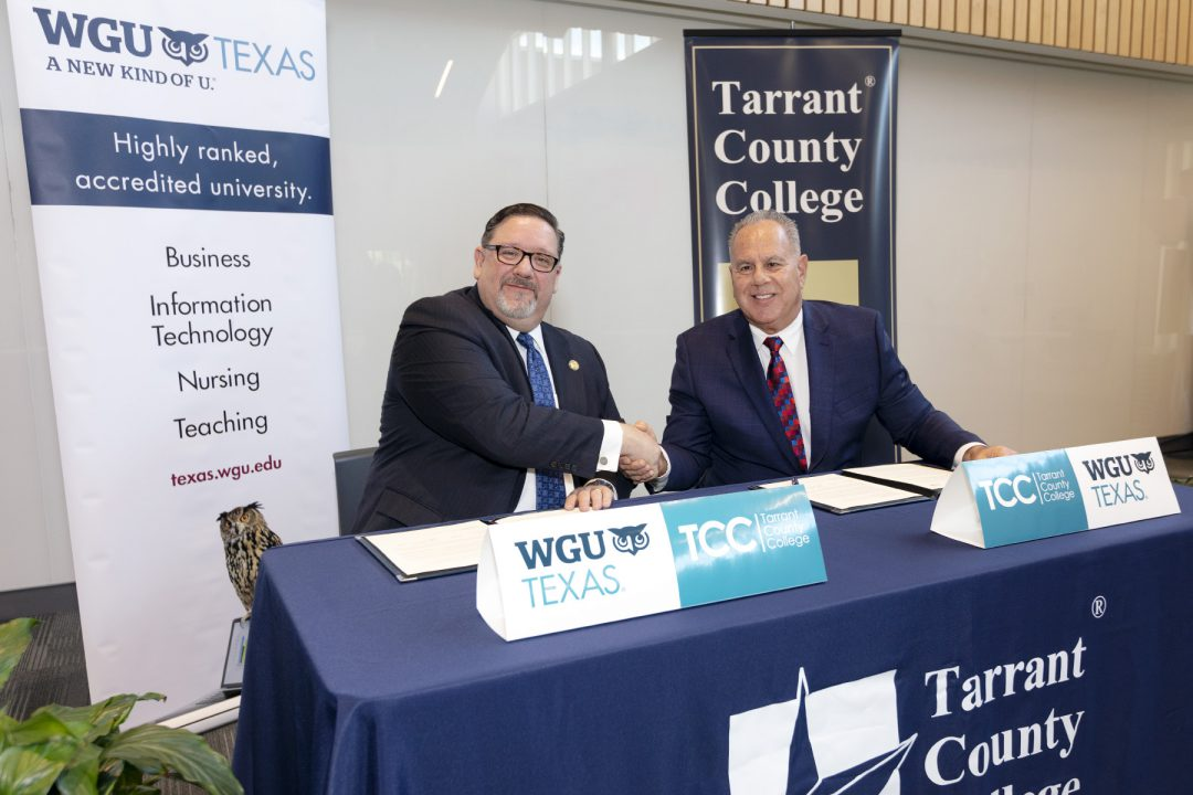 WGU Texas, Tarrant County College District sign agreement to make
