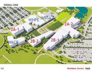 Map of Northeast Campus containing the proposed construction dates over the buildings.