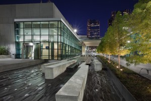 Trinity River Campus East at night