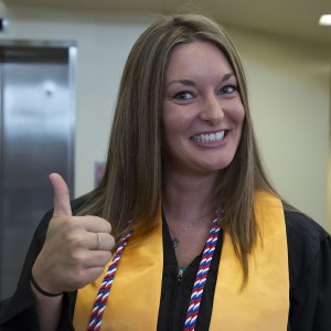 Graduate with veteran's honor cord