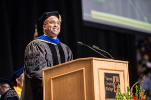Luis Ponjuan, Ph.D., associate professor at Texas A&M University, delivers TCC 2014 commencement address.