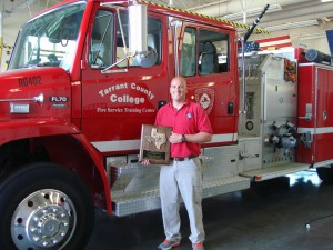 Jacob Smith, TCC Fire Service Training Center instructor, winner of the Texas Association of Fire Educators Instructor of the Year award.