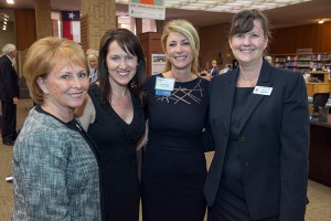 TCC Alumna Sen. Wendy Davis (third from the left) visits with TCC staff (left to right), Paula Vastine, Stacy Thorne Stuewe and Karen Robertson.