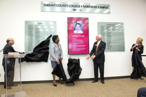 Alumni Wall of Fame undraped by (left to right) TCC Foundation Executive Director Joe McIntosh, TCC Chancellor Erma Johnson Hadley, Northeast Campus President Larry Darlage and TCC Alumna Sen. Wendy Davis