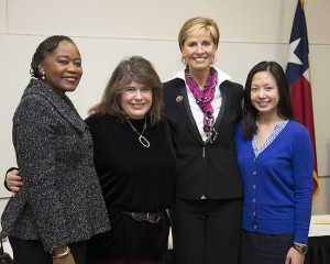 TCC Vice Chancellor for Student Success and Academic Affairs Joy Gates Black, TWU online student and TCC graduate Cassandra Ferrell, TWU Chancellor and President Carine Feyten and TCC Cornerstone student Sirima Tongkhuya, who will be joining the TWU Honors Scholar Program.