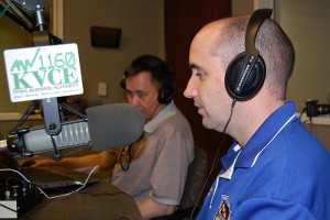 NW Veteran Learning Community Coordinator Ryan Kelly, right, and KVCE Co-host Leo Prescott