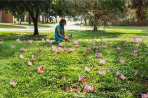 Woman in grass surrounded by US flags